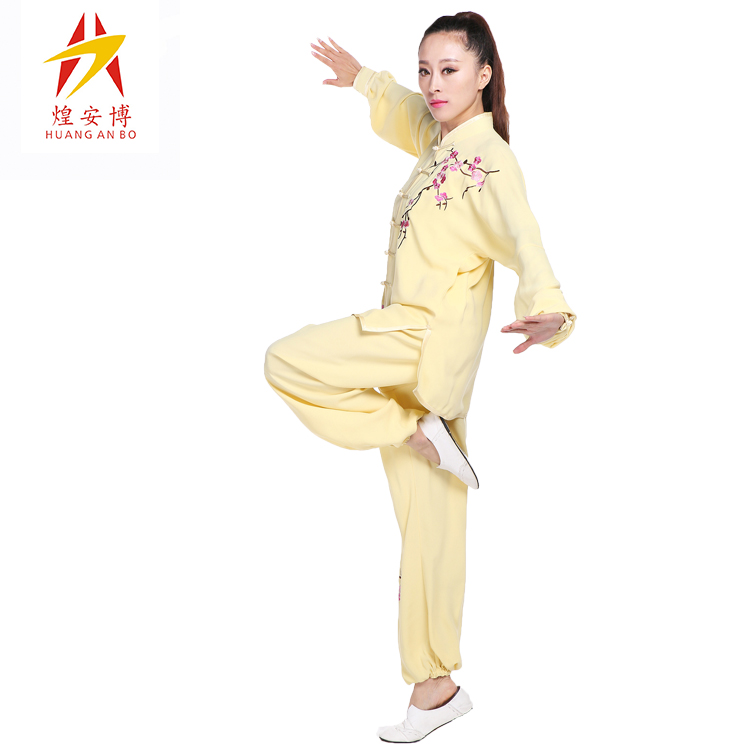 Abou huang tai chi clothing spring and autumn paragraph cotton silk embroidery tai chi clothing clothes and martial arts performance clothing