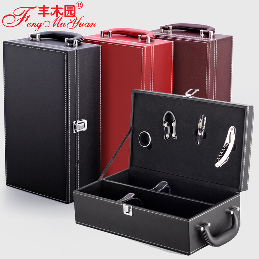 Abundance of wood garden lafite wine box wine packaging boxes leather box wine packaging double sticks box box spot