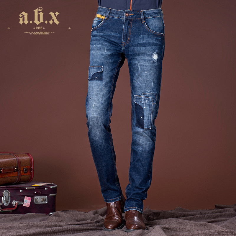 Abx winter thick patch patch holes in jeans trousers korean version of the trend of men slim stretch denim trousers