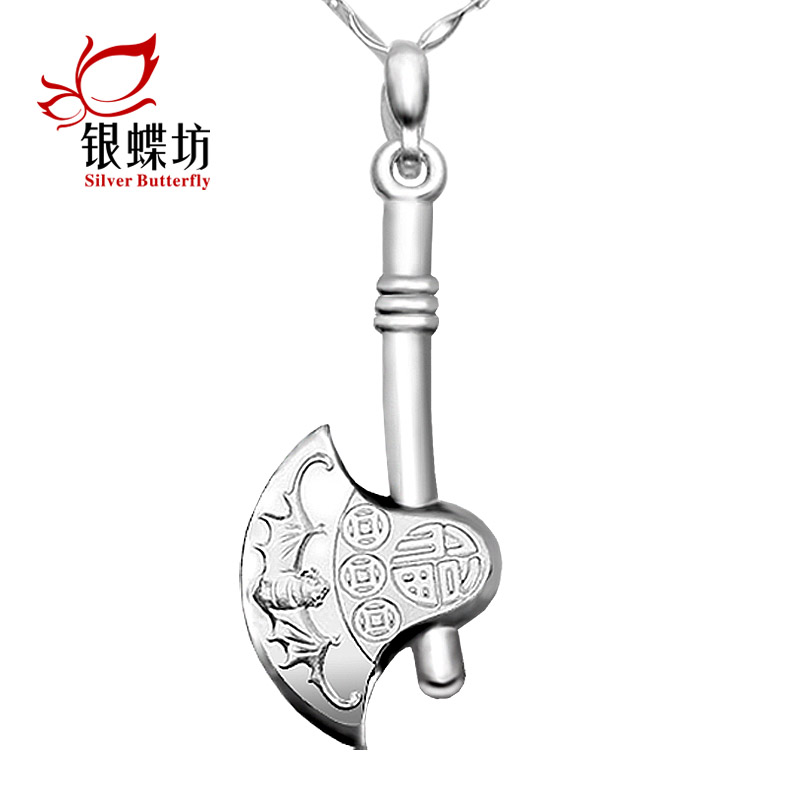 Accessorise ax pendant korean men 999 fine silver sterling silver necklace female models short paragraph japan and south korea fashion jewelry