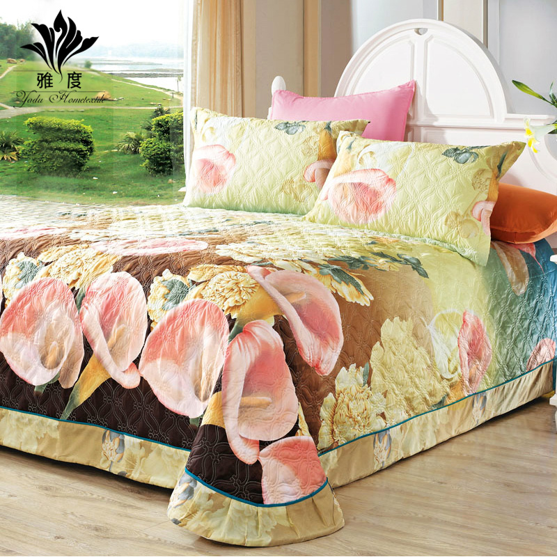 Get Quotations · Accor Korean Quilted Cotton Bed Cover Three Sets Of  European Cotton Quilting Is Linen Single Bed