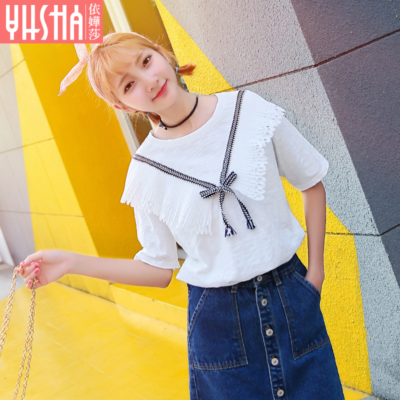 According to miriam lufthansa women's summer 2016 new wave of korean version of a solid color bow blouse loose white short sleeve t-shirt female