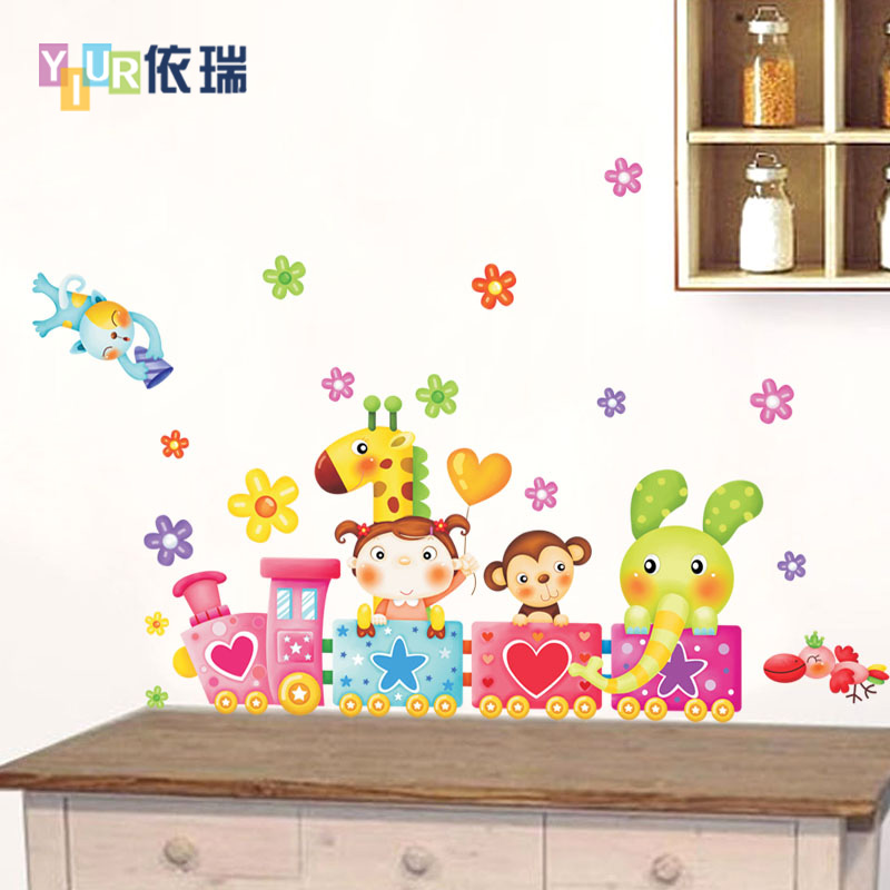 According to swiss animal train removable wall stickers children's room, children's bedroom hallway cartoon decorative stickers
