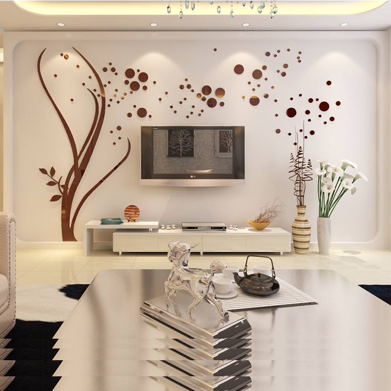 Acrylic 3d three-dimensional wall stickers tv backdrop living room bedroom wall warm xin fashion room decorations