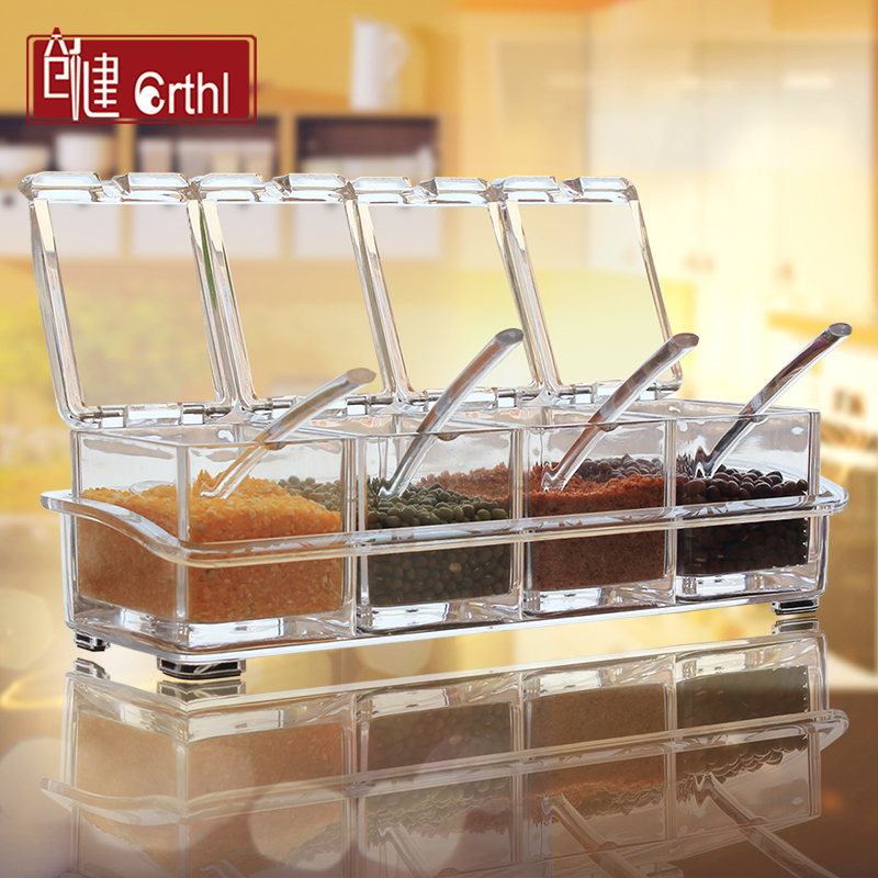 Acrylic seasoning condiment bottles box set of vertical kitchen salt shaker spice jar seasoning box condiment jar