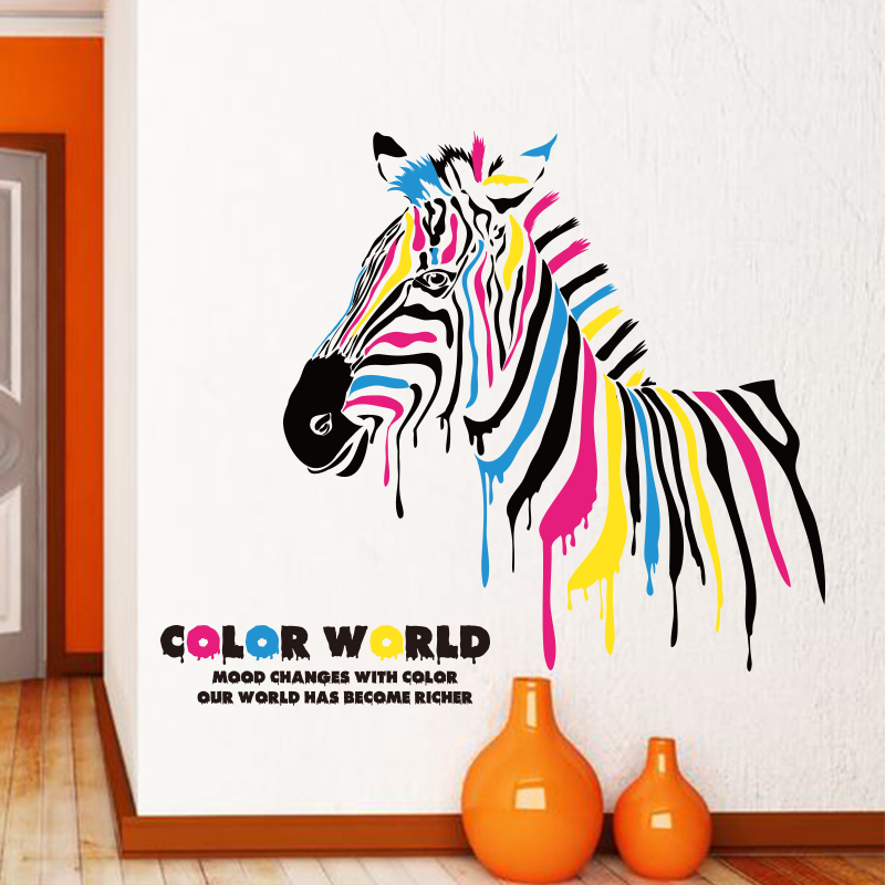 Adhesive wall stickers entrance hallway corridor creative personality wall sticker living room bedroom color zebra decalcomania
