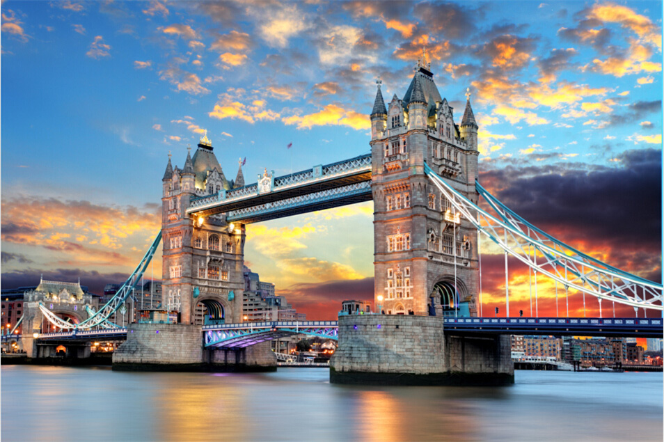 Adult educational toys gift 1000 wooden jigsaw puzzle of 1500 beautiful scenery sunset tower bridge in london fireworks