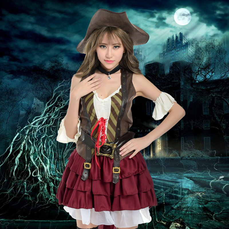 Adult female pirate halloween masquerade role cos sailor cosplay costume party dress female pirate costume