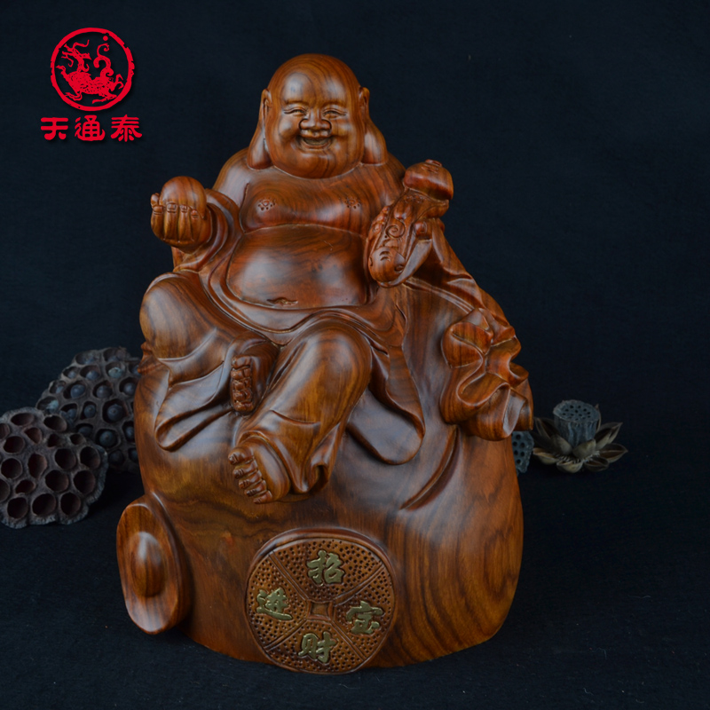 African pear wood carving wood carving laughing buddha maitreya woodcarving wood carving crafts ornaments wedding gift ideas lucky buddha