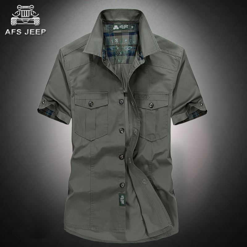 2d9c99927f36d5 Get Quotations · Afs jeep jeep loose big yards summer lapel short sleeve  shirt men s clothing inch army green