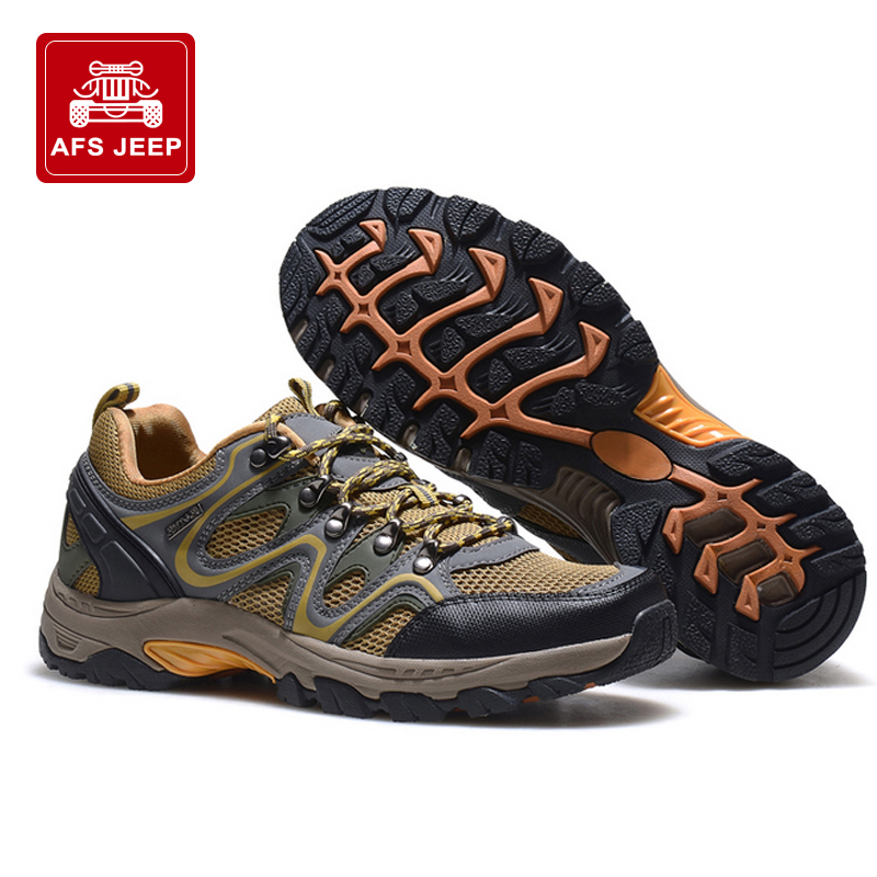 Afsjeep battlefield jeep spring and summer outdoor climbing shoes men's shoes breathable mesh slip shock reduction drainage hiking shoes