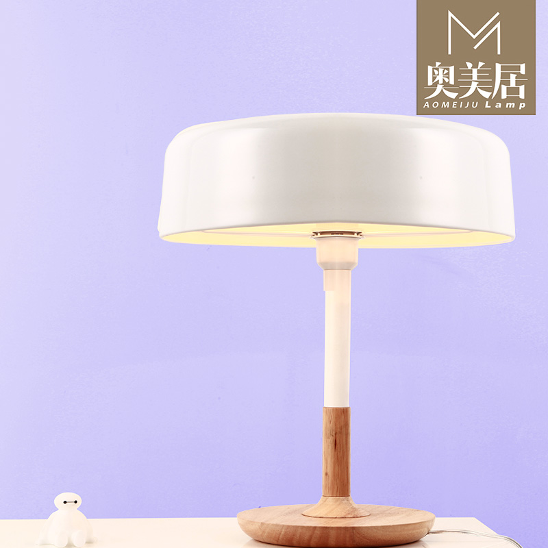 After the scandinavian modern minimalist modern wrought iron wood table lamp creative cute mushroom table lamp bedroom den office coffee