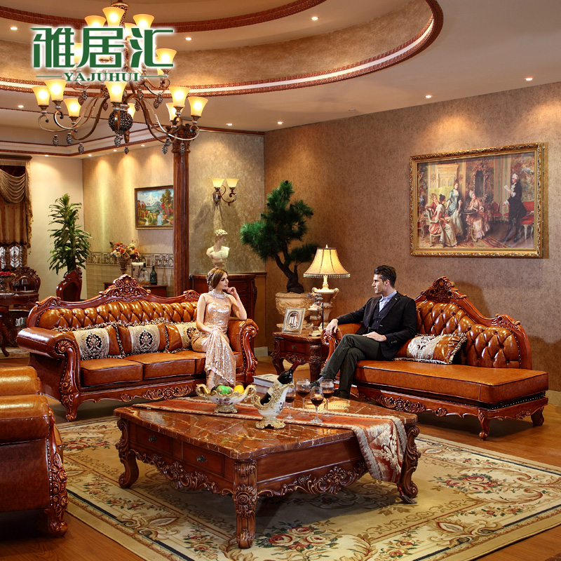 Agile department of american wood sofa combination of first layer of leather sofa leather sofa luxury villa living room continental furniture sofa