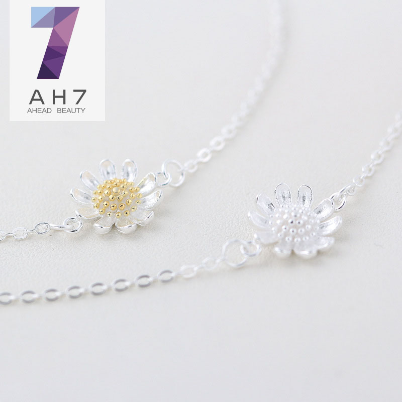 Ah7 s925 silver anklets female models korean version of sweet girls sun daisy flowers foot jewelry trend line