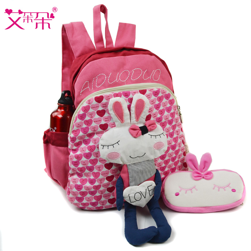 Ai blossoming rabbits two and grade children backpack schoolbag bag girls cloth bag shoulder bag