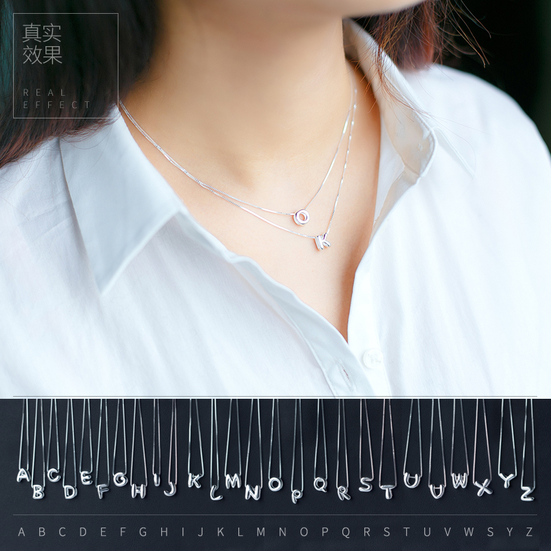 Ai luoqi 925 silver necklace female korean fashion sweet letters of the alphabet pendant necklace letter necklace female temperament