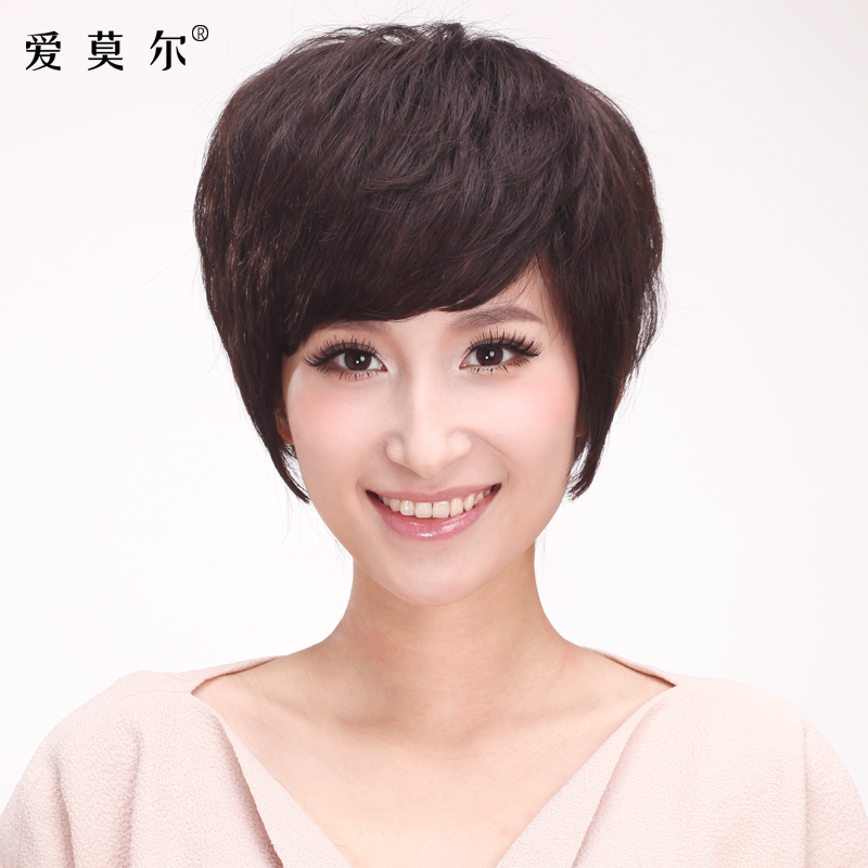 Ai moer full hand woven ms. fluffy hair real hair fashion lifelike entire top wig short hair short hair