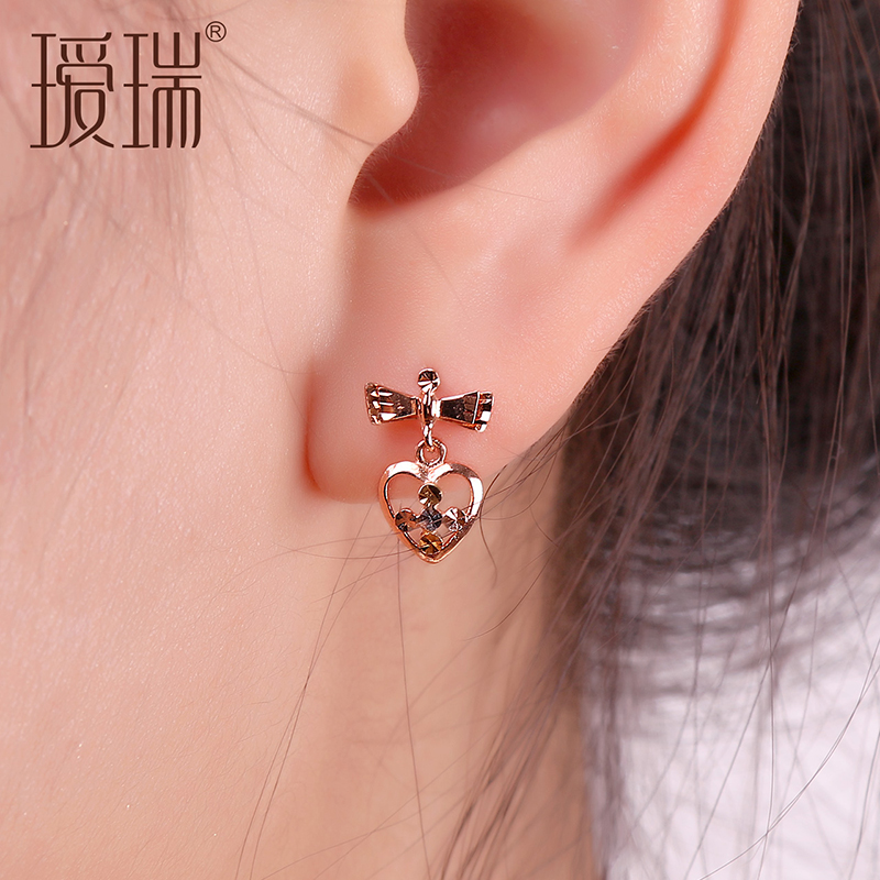 Ai rui k gold earrings female models gold platinum rose gold color gold bow earrings shaped earrings
