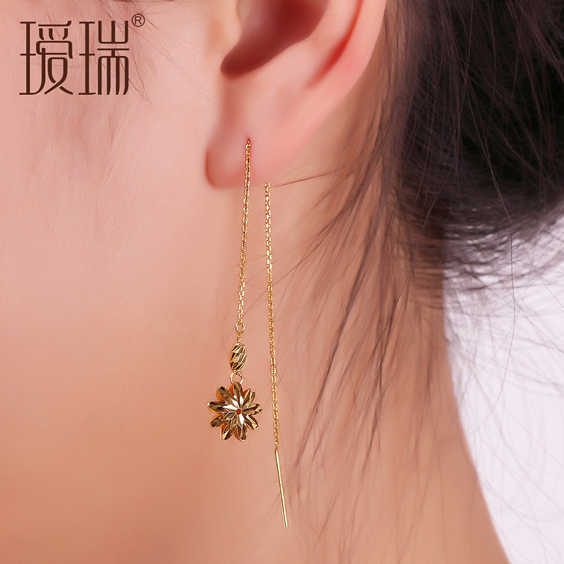 Ai rui k gold rose gold color gold earrings gold ear wire earrings simple ear wire female models fashion daisy