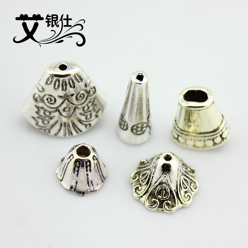 Ai yinshi diy beaded imitation tibetan silver jewelry accessories tibetan silver jewelry accessories tray receptacle flower hat flower tube
