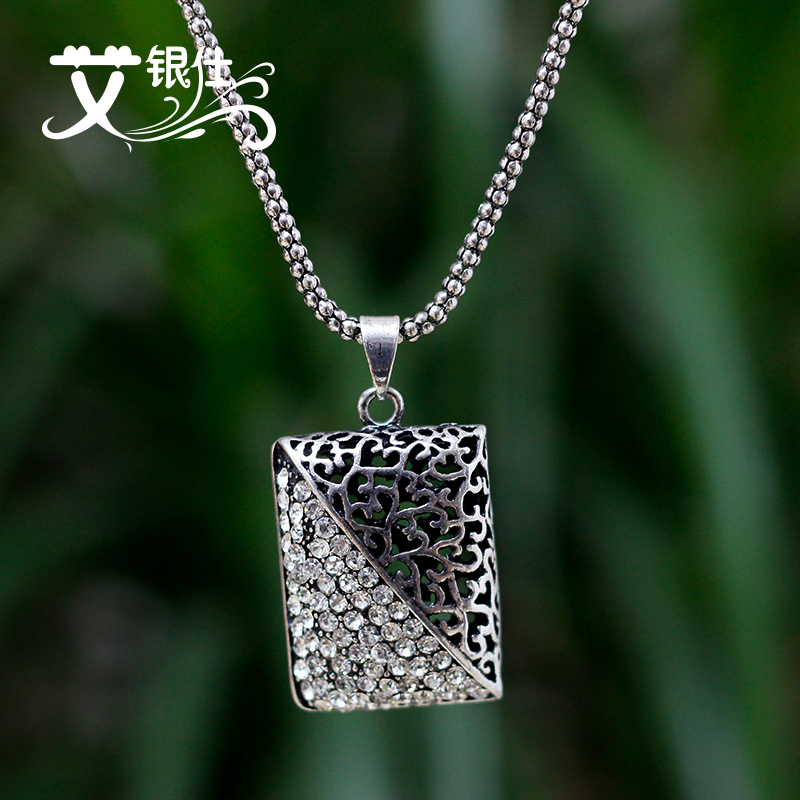 Ai yinshi jewelry accessories diamond necklace with a long section of rectangular retro sweater chain pendant necklace female sweater chain