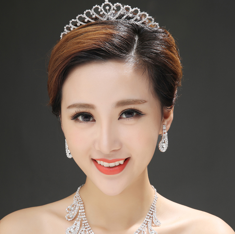 Aino wedding dress new bride wedding jewelry rhinestone crown hair accessories hair bands korean princess small crown