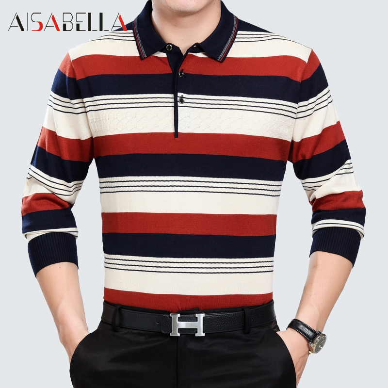 Aisabella2016 spring and autumn new middle-aged men's conventional models rimula men's business casual striped shirt t-shirt