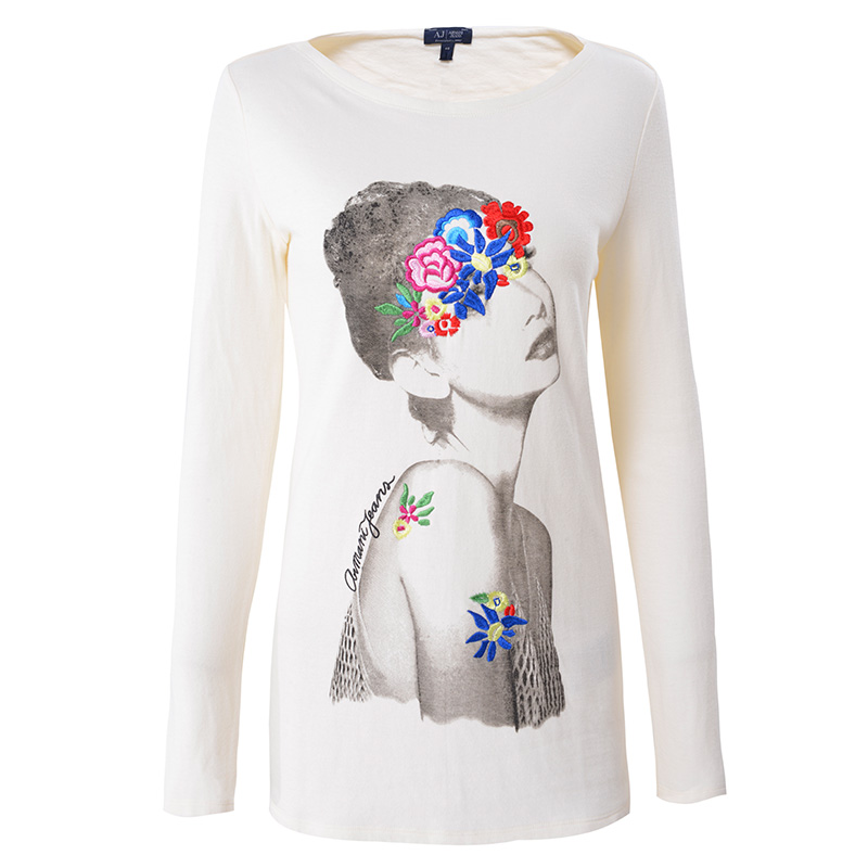 Aj armani jeans armani women ladies long sleeve t-shirt casual shirt printing 92280