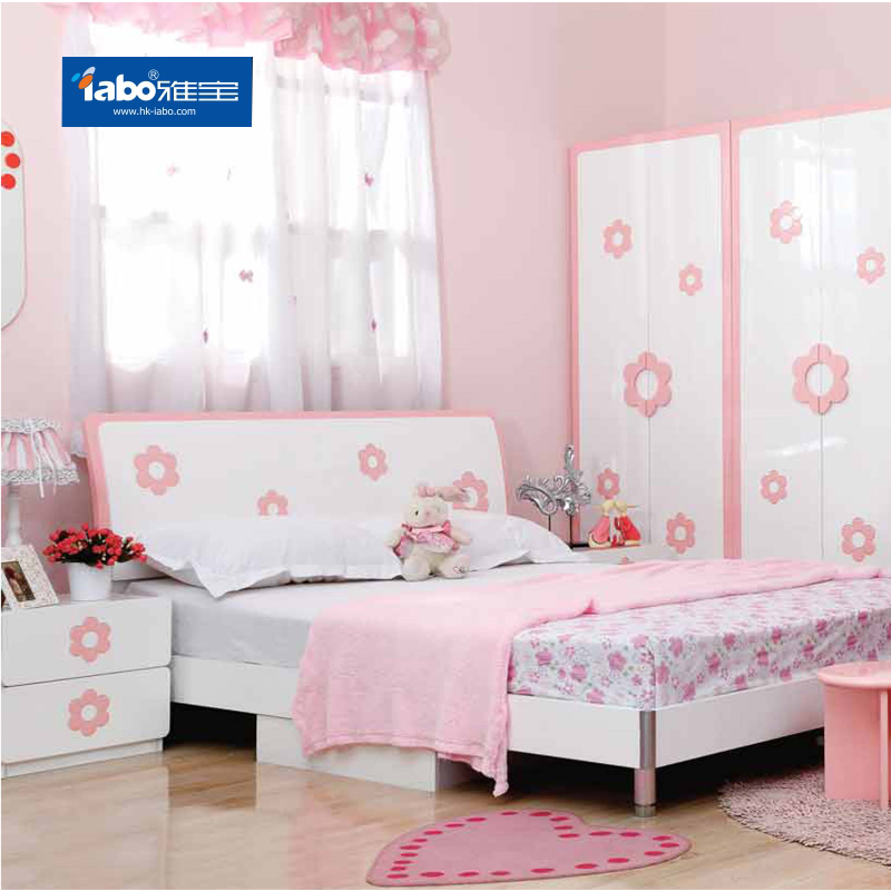Albemarle furniture pink girl princess room furniture children's suite 1.5 m single bed bedside cabinet