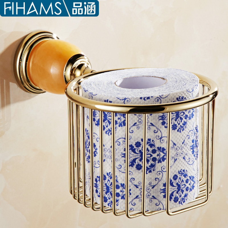 All copper and gold bathroom towel rack shelving racks roll holder dustbin european jade pendant box of toilet paper basket
