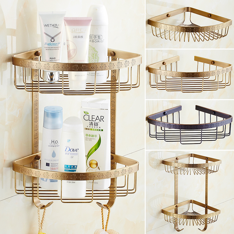 All copper antique european double shelf bathroom accessories shower gel shower gel shelf bathroom jiaojia basket tripod