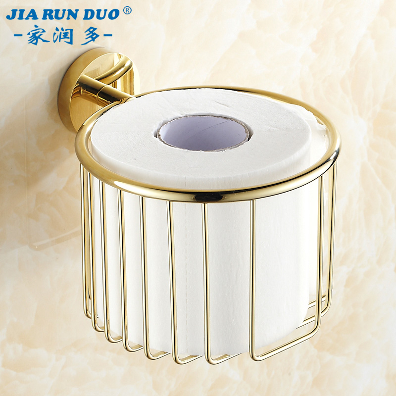 All copper continental antique bathroom towel rack bathroom wall shelving golden toilet paper cassette toilet roll holder wastebasket