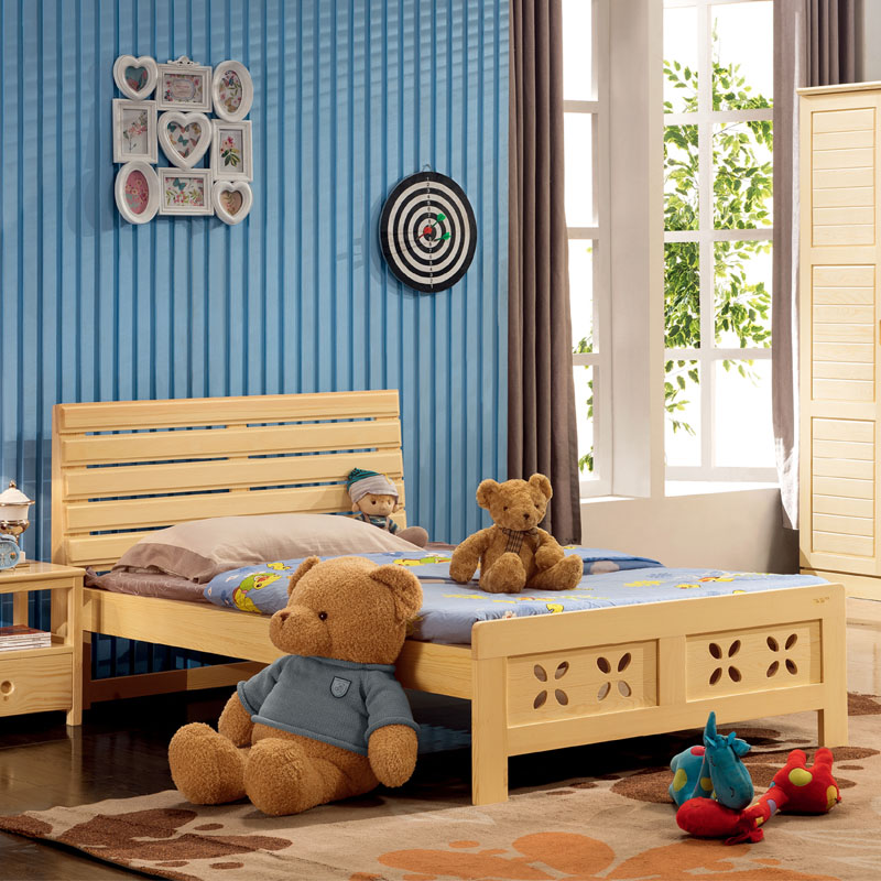 All solid wood bed pine bed children's beds simple wooden bed 1.2 m free shipping