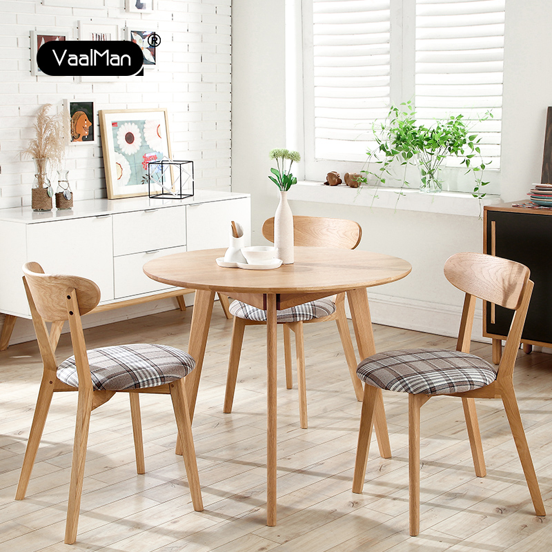 All solid wood round dining table nordic white oak dining table round table small apartment home office coffee table japanese garden