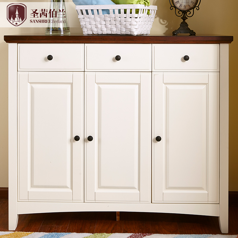 All solid wood three shoe shoe mediterranean american living room furniture white shoe cabinet sideboard small cupboard drawer