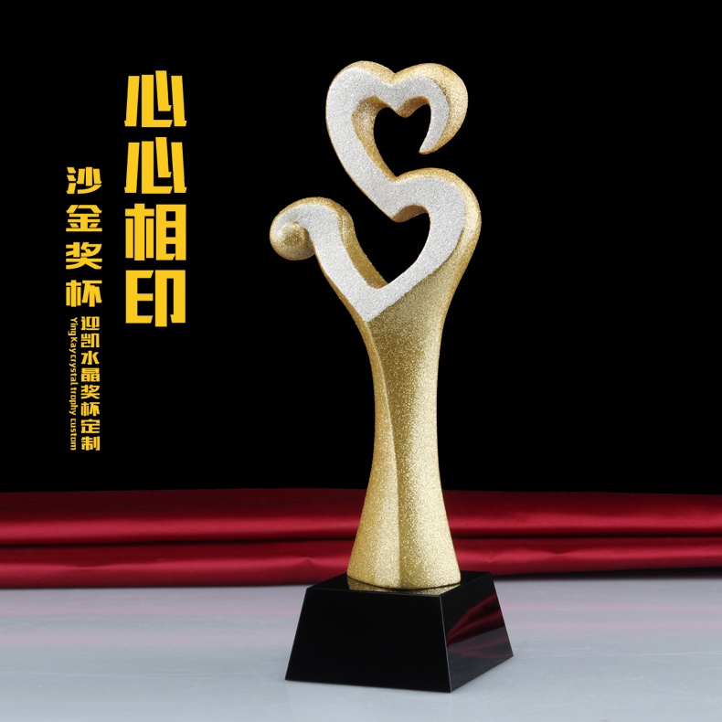Alluvial gold trophy trophy custom heart charity trophy love trophy crystal trophy award trophy gift