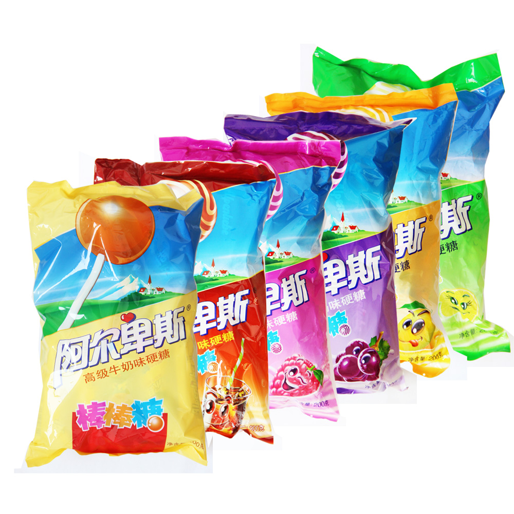 Alpine lollipop candy 20 pcs/bag (200g) milk strawberry orange cola mango and other wedding candy