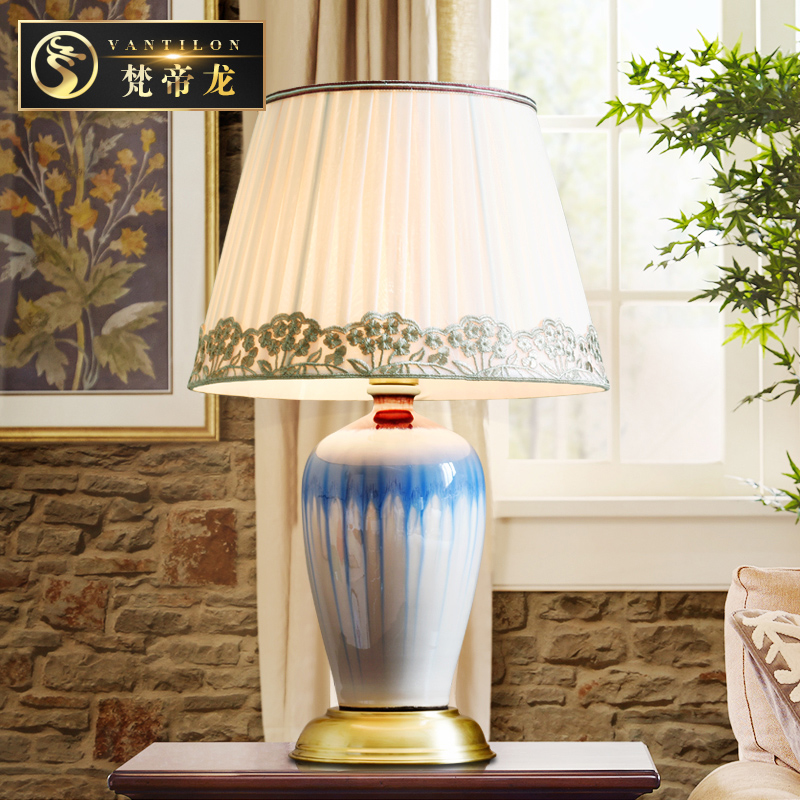 American country creative personality hotel villa bedroom living room cozy den full copper ceramic lamp bedside desk
