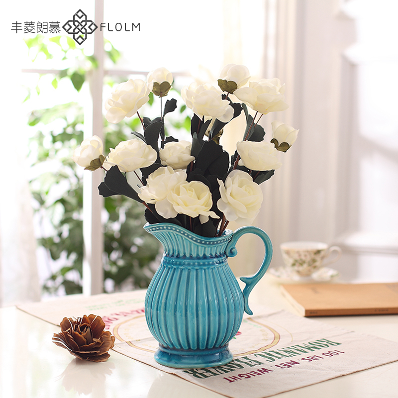 American country home decorations ornaments retro mediterranean blue ceramic vase pot fake flower vase simulation flower vase is