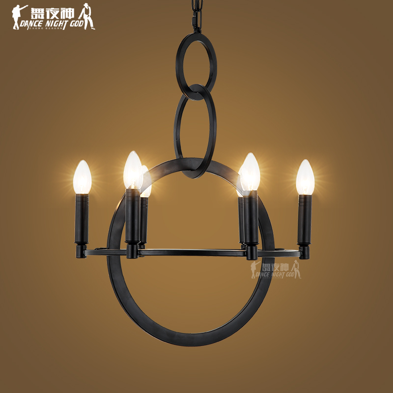 American country retro industrial loft style wrought iron chandelier chandelier creative personality art bar restaurant cafe