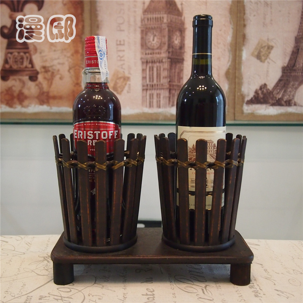 American creative personality retro handmade bamboo wooden wine rack wine rack wine bar home accessories ornaments