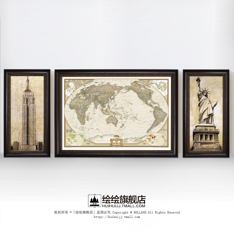 China world map framed china world map framed shopping guide at get quotations american decorative painting painted triptych painting the living room sofa backdrop painting framed paintings den retro gumiabroncs Gallery