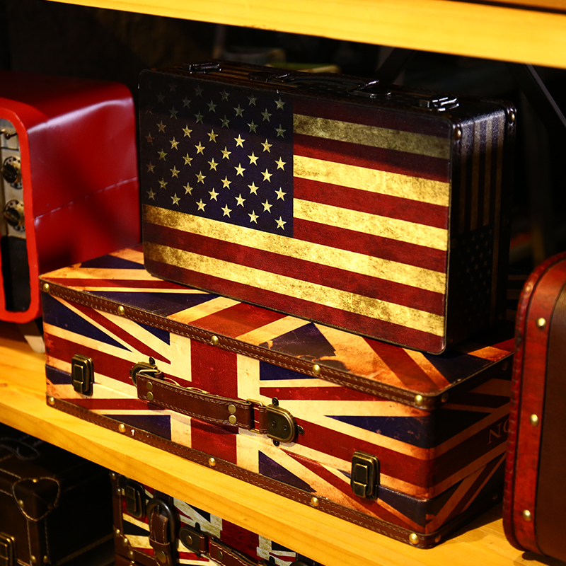 American home decoration creative home decorations soft retro flag suitcase wedding photography shoot props decoration