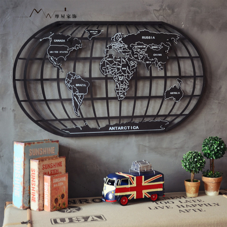American industrial loft style wrought iron decorative wall map of the world bar office frameless decorative painting metal painting wall mounted