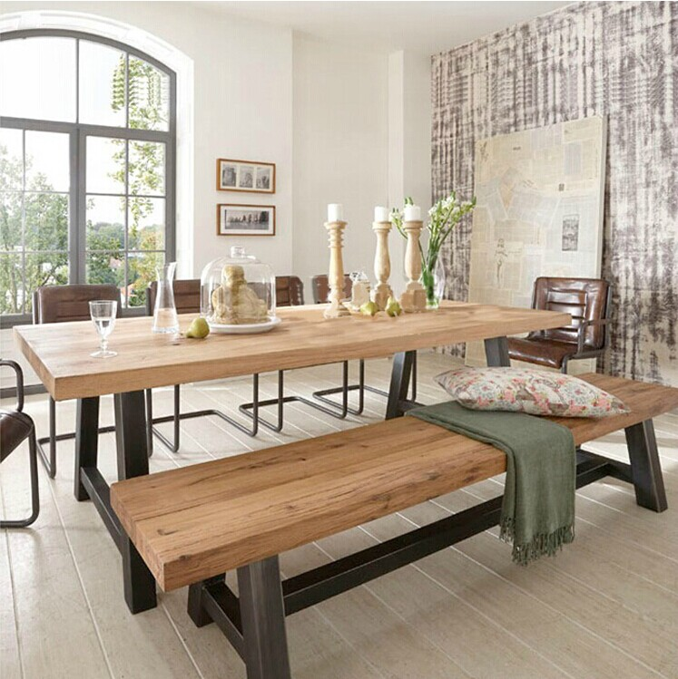 American iron do the old retro dinette combination of solid wood dining table rectangular living room balcony leisure furniture
