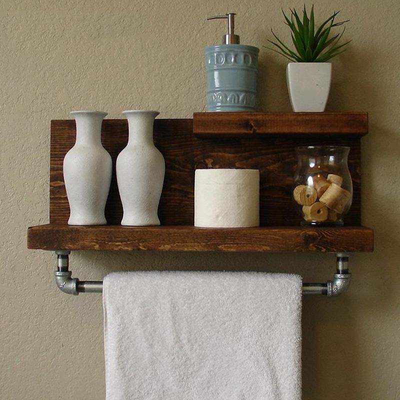 American loft shelf word partition wall shelf wood storage shelves seasoning rack kitchen towel hooks