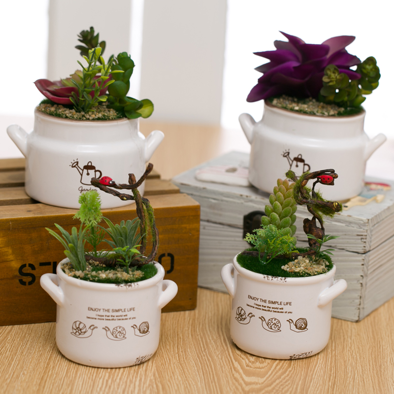 American pastoral creative fashion home living room table simulation potted artificial flowers ceramic pot decoration