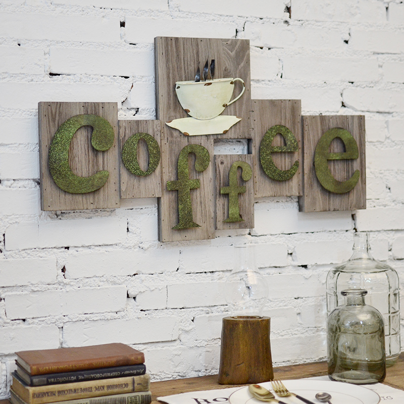 American retro cafe logo wall creative nostalgic wood frame painting decorative wall hangings wall decorations