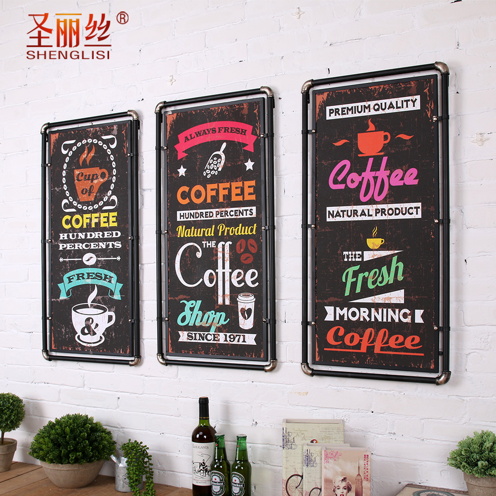American retro industrial loft wrought iron decorative wall cafe bar creative decorative painting four walls of soft furnishings