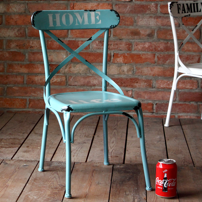 American retro rustic wrought iron chairs child seat dining chair metal chair metal chair leisure chair backrest small chair back fork